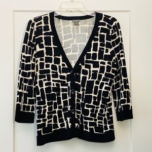 Ann Taylor Patterned, Graphic Cardigan Sweater